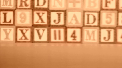 Alphabet blocks sepia tone BIBLE - HD