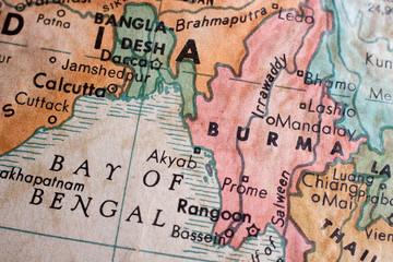 Old map of Burma / Bay of Bengal