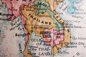 Old map of Thailand