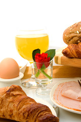 delicious breakfast over white background
