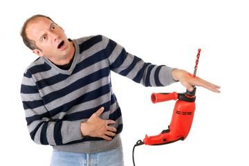 man drill accident