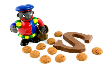 Black Piet with pepernoten and chocolate letter
