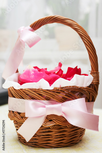 Basket with roses petals.