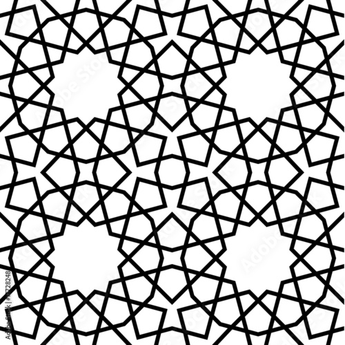 Islamic Seamless Pattern Black and White Tile