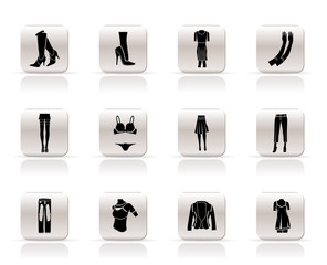 woman and female clothes Simple icons - vector icon set