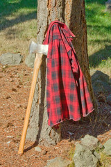 Double Bit Axe with Red Black Flannel Shirt