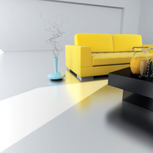 Żółta kanapa jest w pustym pokoju, światła