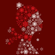 Stylized woman head, snowflakes. Winter season.