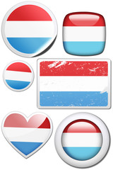 Set of stickers and buttons - Luxembourg