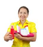 women senior having hold of toiletries poster