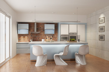 3d rendering a modern kitchen