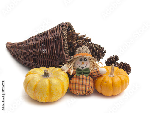 Autumn still life with basket and pumpkins