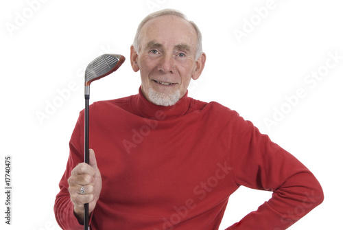Active senior man ready for golf