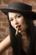 japanese girl smoking a cigar