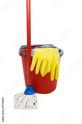 Swab, bucket and gloves for cleaning