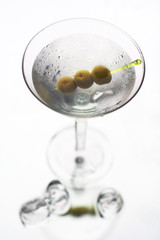 Martini with olive on fancy skewer