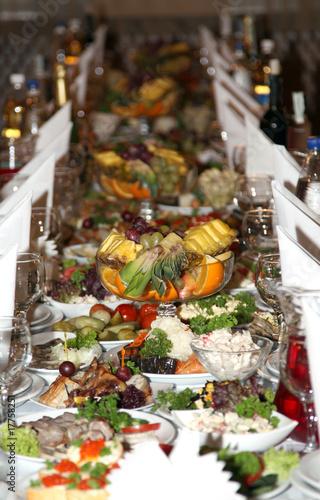 In de dag Buffet, Bar food at banquet table