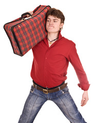 Happy man in red shirt with travel suitcase. Isolated.