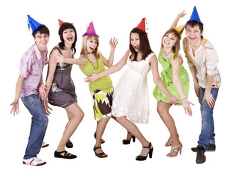Happy group of people celebrate birthday or christmas .