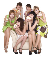 Group of people eat cake. Isolated.