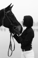 Beautiful women with horse in black and white