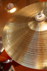 close-up of cymbals on a drum kit