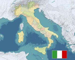 MAPPA FISICA POLITICA ITALIA