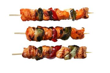 Juicy kabobs on white background