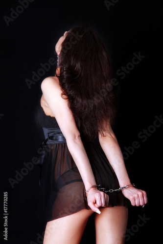 woman back with handcuff