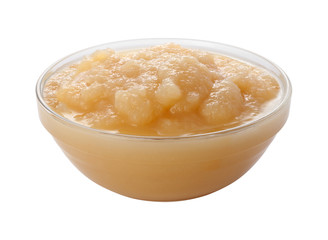Applesauce in a Glass Bowl