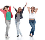 Young teens posing on white. Is not isolated