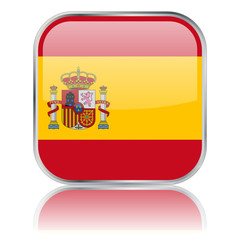 Spanish Square Flag Button (vector with reflection)