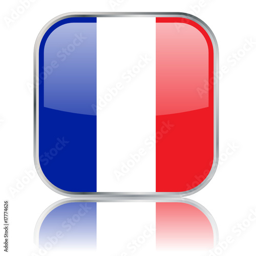 France - French Square Flag Button (vector with reflection)