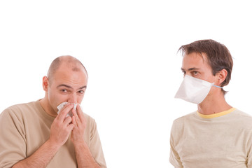 Casual men with flu