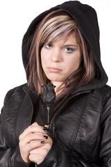 Expression girl sad wearing black