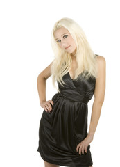 young blond woman in black dress