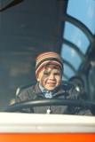Little boy driving poster