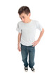 Boy in plain t-shirt
