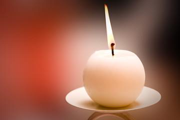 Burning Round Candle