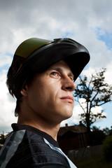 portrait of a motocross rider