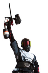 paintball shooter holding a gun, isolated on white