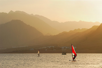 Egypt. Dahab. Windsurfing at sunset