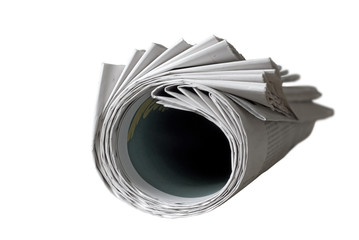 rolled up newspaper, free copy space, isolated