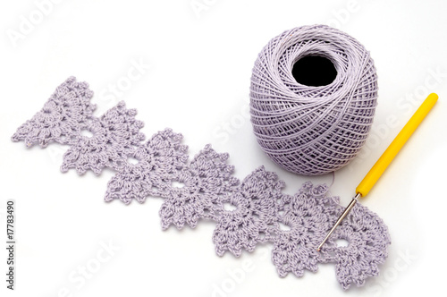 Cotton yarn with crochet work
