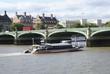 cruiser. river thames. westminster bridge. london. england