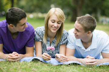 Three Teens in Park