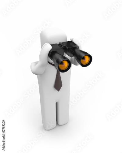 The person looks in binocular