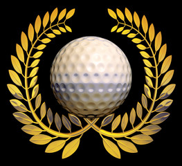 golf ball with golden laurel wreath
