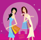 Shopping duo.  Lifestyle fashion illustration. Vector format. poster