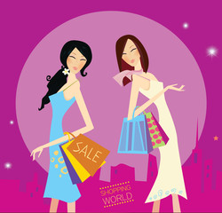 Shopping duo.  Lifestyle fashion illustration. Vector format.